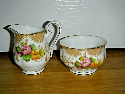 ROYAL ALBERT Lovelace Fine Bone China Milk Jug & Sugar Bowl ~ 1st ~ Excellent