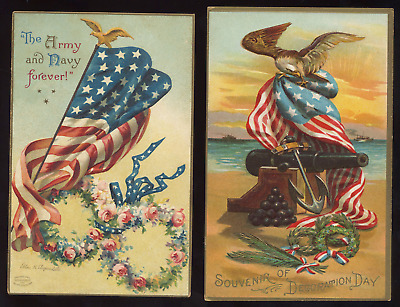 Vtg Postcard Lot Patriotic Memorial Day Army Navy Flag Eagle Clapsaddle Emboss