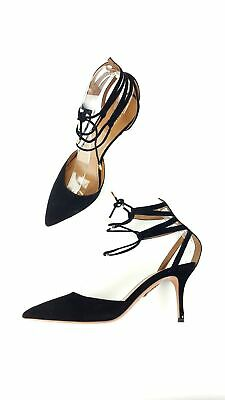 fabfc026296 AQUAZZURA BLACK SUEDE Pointed Toe Lace Up Ankle Heels Shoes Size 39.5 9.5