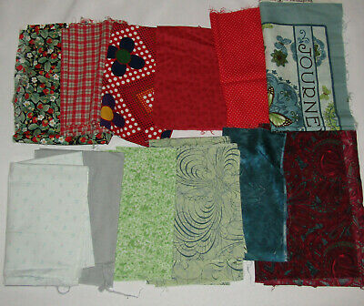 Red Green Blue Fabric Lot Cotton Scraps Calico Flowers Strawberries Plaid