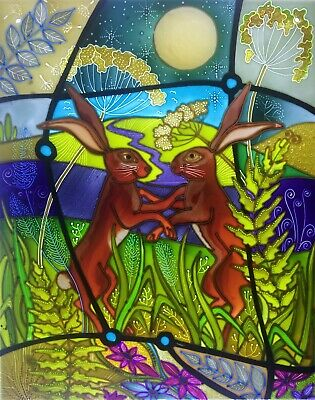 Dancing hares, Moon gazing hares. Stained glass style hand painted glass panels