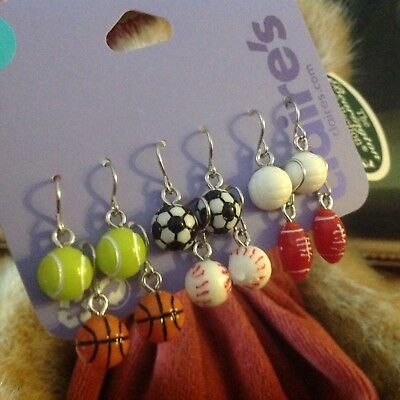 c35b0867273b9 NWT CLAIRE'S GIRLS set of 6 Sporty balls Stud Earrings Set 6 pack CO ...