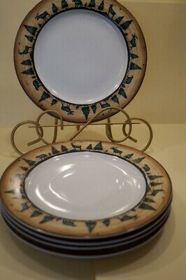 Log Cabin By David Carter Brown Dinnerware Moose Caribou Deer - Your Choice