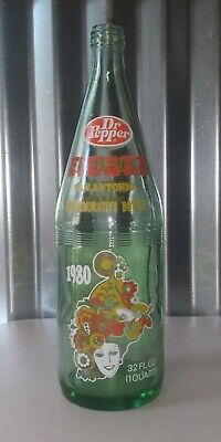 Vintage Dr. Pepper Opened 32 Oz Green Glass Commemorative Bottle - Fiesta - 1980
