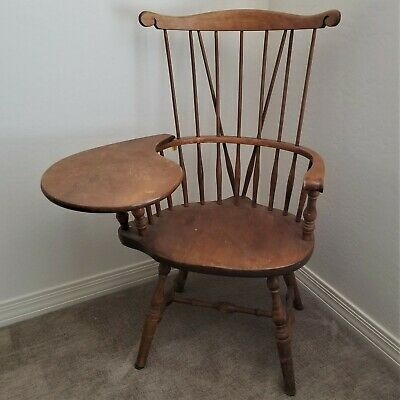 RARE Adult Size S. Bent & Bros. Antique Wood Windsor Colonial Writing Chair Desk