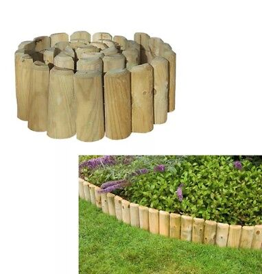 EASY FIX SPIKED Border Log Roll Lawn Pressure Treated Wood Edging