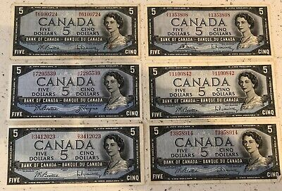 Lot of 6 1954 $5 Canada Bank Notes Various Serial Numbers