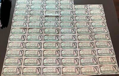 Lot of 64 1867 to 1967 Bank of Canada $1 Bank Notes, One Dollar