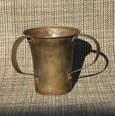 Antique Arts And Crafts Handmade Copper Loving Cup Signed Three Handle