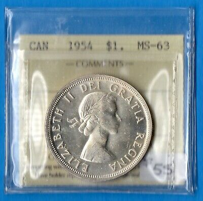 Canada 1954 $1 One Dollar Silver Coin - ICCS MS-63