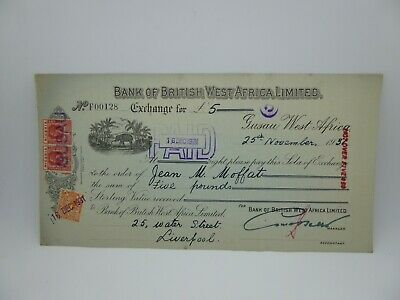 Vintage Bank of British west Africa ltd Cheque..Liverpool banking dated 1931..