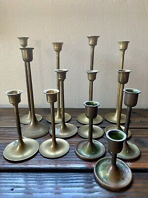 Brass Candle Holders Candlesticks Lot of 13 Mixed Lot Vtg Decor Weddings Holiday