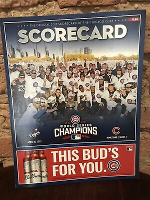 2017 Chicago Cubs Official Opening Day Scorecard vs Dodgers Homestand 1 Series 1