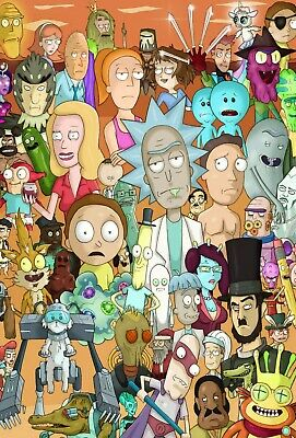 Rick and Morty Art Collage Poster All Characters - NEW - 11x17 13x19