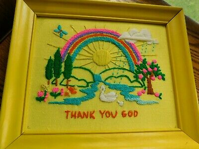 Thank You God Crewel Embroidery Panel COMPLETED Handmade Rainbow French Knots