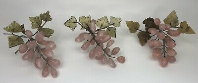 Vintage Chinese Celadon Pink Carved Grape Clusters with Stone Leaves Set 3