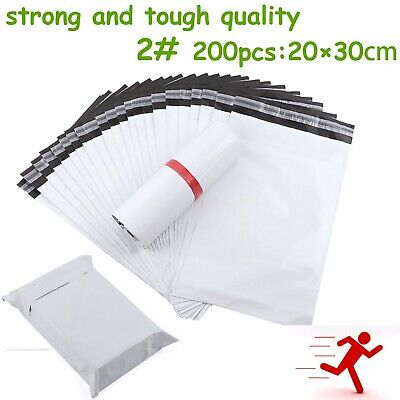 2#200pcs Poly Mailer Courier Self Sealing Shipping Bag Plastic Satchel Recycable
