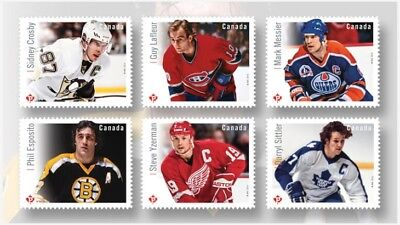 2016- Canada -NHL-Forwards- Permanent- Stamps - Die cut 6 loose Crosby Messier