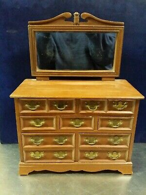 Vtg Jewelry Box Dollhouse Miniature: 7 Drawer Colonial Chippendale Wood Dresser