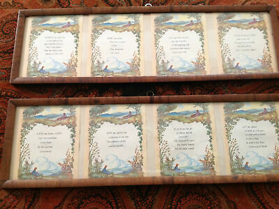 8 Framed Antique Arts & Crafts Chromolithograph Prints Daily Prayers/Thoughts