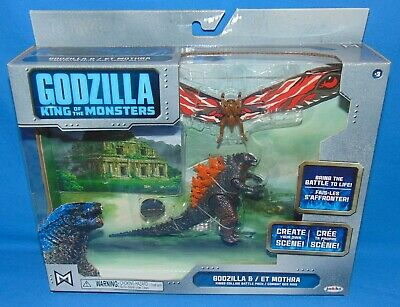 "2019 JAKKS Pacific GODZILLA vs MOTHRA *Sealed* 3.75"" King of Monsters Diorama"
