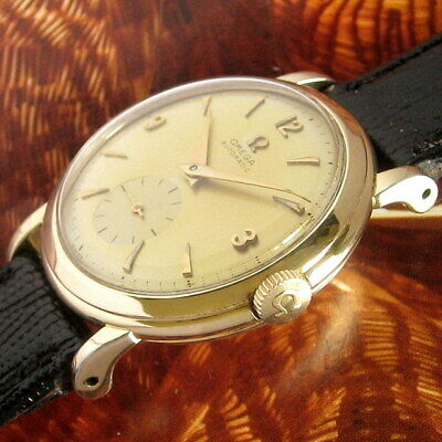 Mens Original 1952 Omega BUMPER Automatic 14K YGF 344 Grade Vintage Swiss Watch