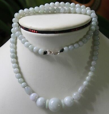 "Gemstone Genuine Natural JADE ""A"" Beautiful Light Lavender Jadeite Necklace 20"""