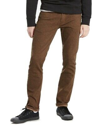 Levi's NEW Rich Brown Mens USA Size 28x32 Slim-Fit Stretch Twill Jeans $69 662