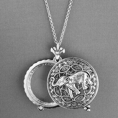 5x Magnifying Glass Antique Silver Finish Elephant Pendant Collar Lupa Elefante