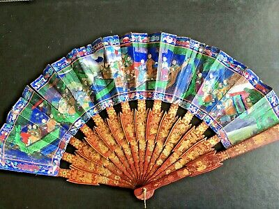 19Th Century China Chinese Canton Hundred Faces Lacquer Fan 古董扇