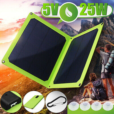 USB 5V 25W Portable Solar Panel Foldable Outdoor Camping Charging For Cell Phone