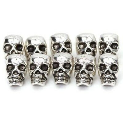 10Pcs Antique Silver Skull Head Spacer Beads Jewelry Bracelet Finding 4mm #AM8Z