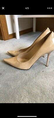 5fa3d77d6e $595 JIMMY CHOO Nude ABEL Patent Leather 38.5 Pointed Toe Pumps Shoes