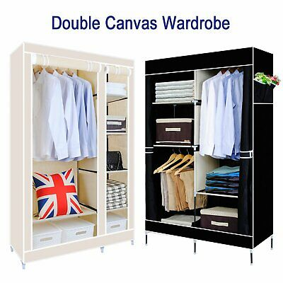 Large Space Storage Portable Bedroom Double Wardrobe Stable Easy Assemble AU