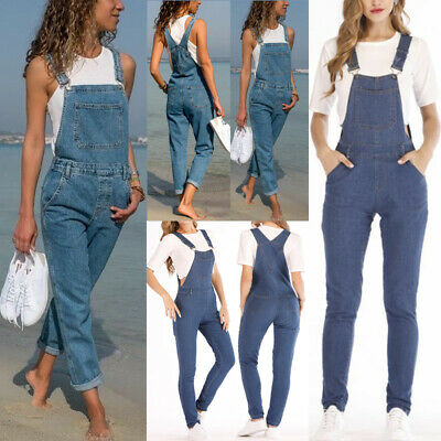Women Denim Jeans Dungaree Jumpsuit Strap Ripped Overall Bib Trousers Romper
