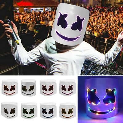 LED MarshMello DJ Mask Full Head Helmet Halloween Cosplay Mask Music Props