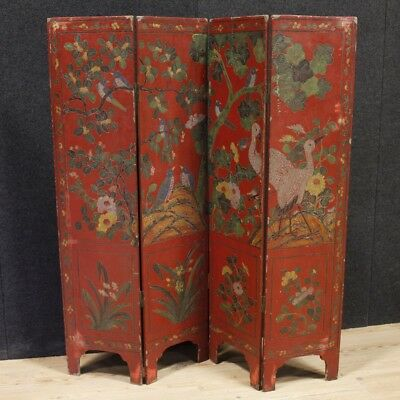 Folding Screen Furniture Antique Style Wood Lacquered Chinoiserie Painting