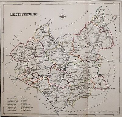 1845 Original Antique County Map Leicestershire Hand Coloured Creighton & Lewis
