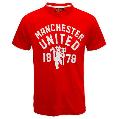 Manchester United FC Official Football Gift Mens Devil T-Shirt Red Small