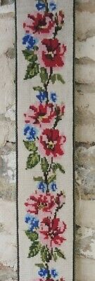 Vintage Danish Hand Worked Tapestry Cross Stitch Bell Pull Wall Hanging #4