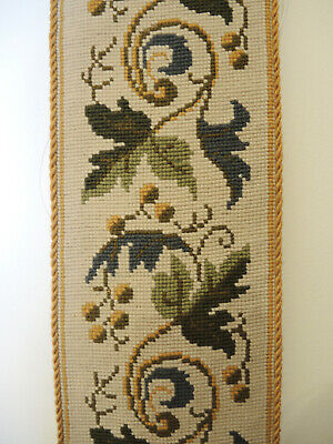 Vintage Danish Hand Worked Tapestry Cross Stitch Bell Pull Wall Hanging #3