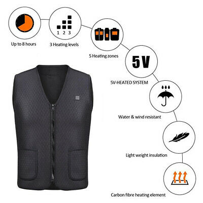 AU Electric Vest Heated Cloth Jacket USB Thermal Warm Heated  Winter-Warmer Vest