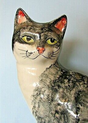 """Fab 8.25"""" Hand Painted Babbacombe Pottery Grey And White Cat Ornament"""