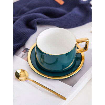 New 3 Piece Ceramic Coffee Tea Dining Cup Set With Matching Spoon & Saucer Plate