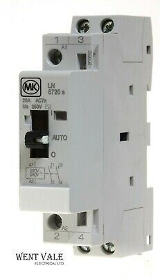 MK Sentry LN6720s - 20a Double Pole N/O Contactor 240v Coil With Manual Override