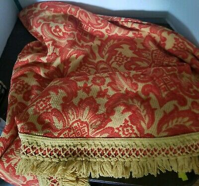 "VTG Tablecloth oval 76"" x 73"" MCM Harvest Gold Fringe Brocade Mid-Century"