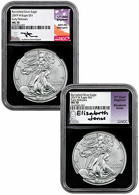 2pc 2019W 1 oz Burnished Silver Eagle NGC MS70 ER Blk Mercanti-Jones SKU58262