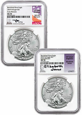 2pc 2019 W 1 oz Burnished Silver Eagle NGC MS70 ER Mercanti-Jones SKU58263