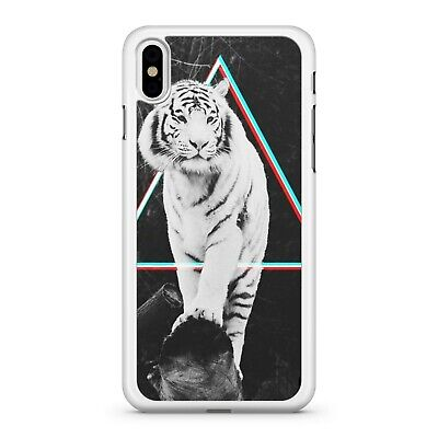 Majestic Snow White Fierce Tiger Animal Geometric Shape Fine Phone Case Cover