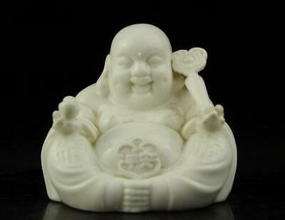 china old Dehua white porcelain carved Ruyi Wealth Maitreya Buddha statue